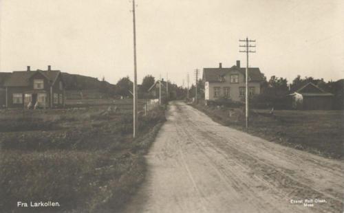 Larkollveien mot Kubakken. Eiendommene Fjeldheim (v) og Skjønhaug (h)